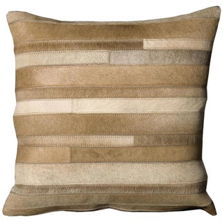 Mina Victory Natural Leather and Hide Beige Throw Pillow (20-inch x 20-inch) by Nourison