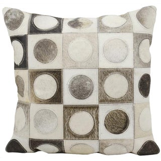 Mina Victory Natural Leather and Hide Circles In Squares Silver Throw Pillow (20-inch x 20-inch) by Nourison
