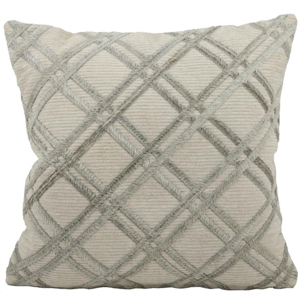 Mina Victory Natural Leather and Hide Double Diagonal Silver/Grey Throw Pillow (20-inch x 20-inch) by Nourison