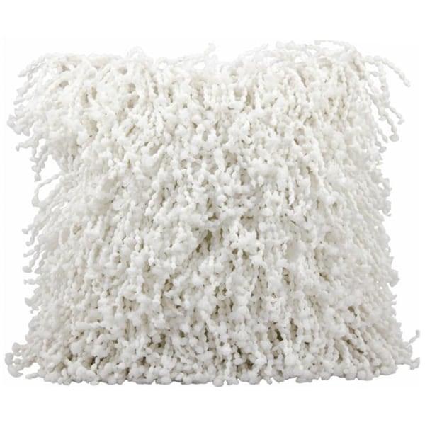 Mina Victory Shag Fugga White Throw Pillow (20-inch x 20-inch) by Nourison