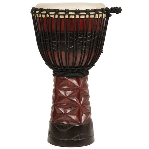 Handmade Burgundy and Black Professional Level Djembe Drum (Indonesia)