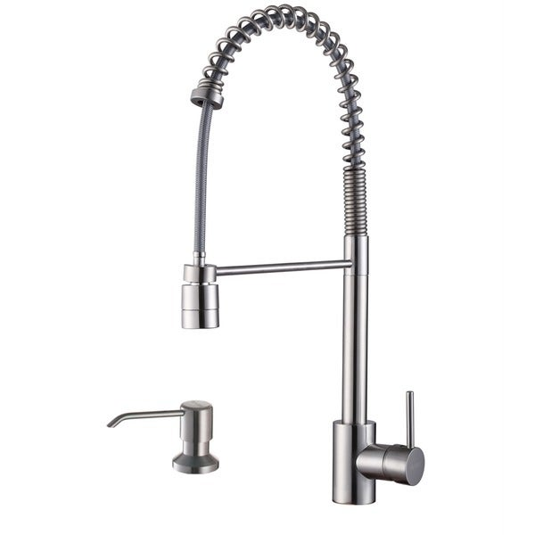 Shop Ruvati Stainless Steel Commercial Style Kitchen Faucet With Soap Dispenser Free Shipping