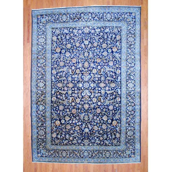 Hand Knotted Persian Isfahan Wool Area Rug: Shop Persian Hand-knotted Isfahan Navy/ Ivory Wool Rug (10