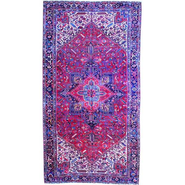 Handmade Herat Oriental Persian 1920s Heriz Wool Area Rug (Iran) - 10' x 19'