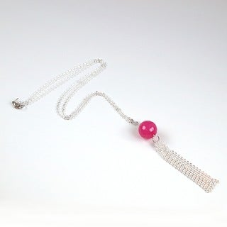 Pretty Little Style Silvertone Acrylic Tassel Necklace