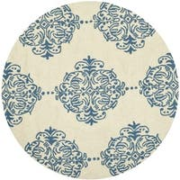 Safavieh Hand-hooked Chelsea Ivory/ Blue Wool Rug - 4' Round