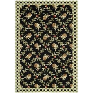 Safavieh Hand-hooked Chelsea Black/ Ivory Wool Rug (3'9 x 5'9)
