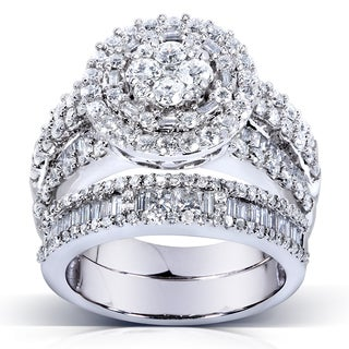 Annello by Kobelli 14k Gold 2 4/5ct TDW Diamond Halo Cluster Bridal Ring Set (H-I, I1-I2)