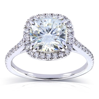 Annello by Kobelli 14k White Gold 2 1/4ct TGW Cushion Moissanite and Diamond Halo Engagement Ring