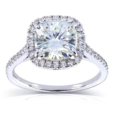 Annello by Kobelli 14k White Gold 2 1/4ct TGW Cushion Moissanite and Diamond Halo Engagement Ring