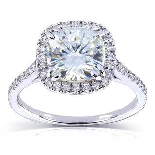 Annello by Kobelli 14k White Gold 2 1/4ct TGW Cushion Moissanite (HI) and Diamond Halo Engagement Ring