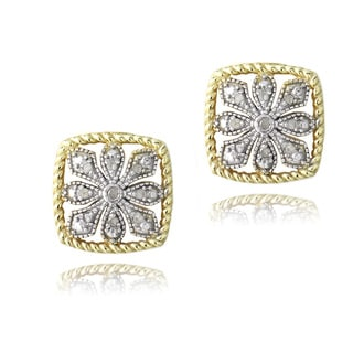 DB Designs 18k Gold over Silver 1/10ct TDW Diamond Earrings (I-J, I2-I3)