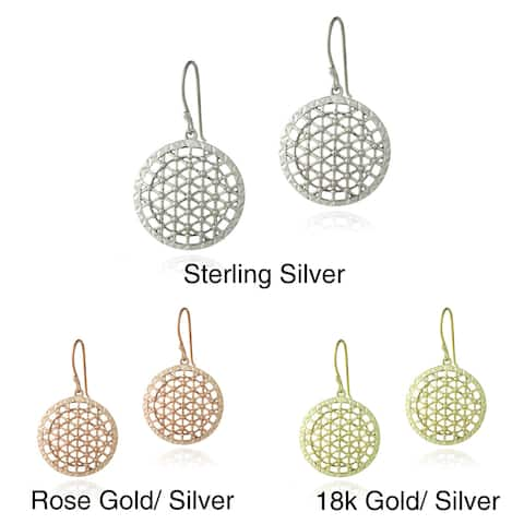 Mondevio Sterling Silver Round Lattice Dangle Earrings