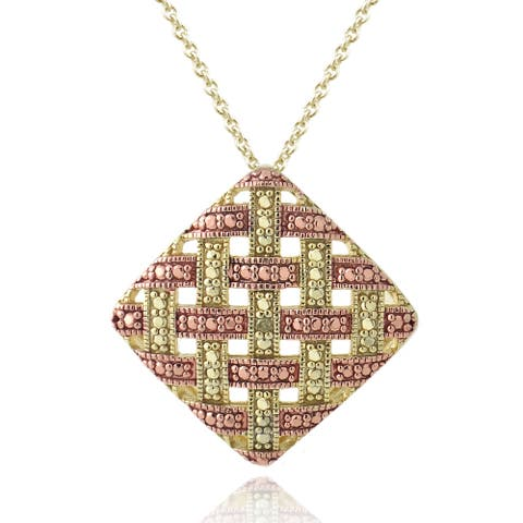 DB Designs Rose Gold/ Silver Champagne Diamond Accent Weave Necklace