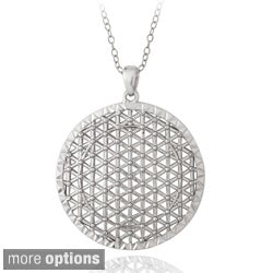 Mondevio Sterling Silver Round Lattice Medallion Necklace