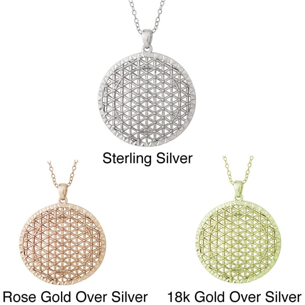 Mondevio Sterling Silver Round Lattice Medallion Necklace