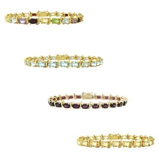 Glitzy Rocks Gold Overlay Gemstone S-link Bracelet