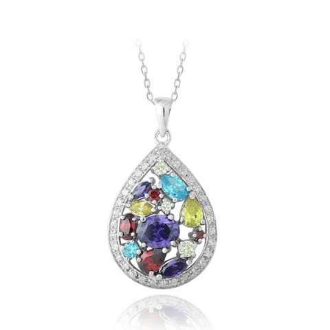Icz Stonez Sterling Silver Multi-colored CZ Cluster Teardrop Necklace