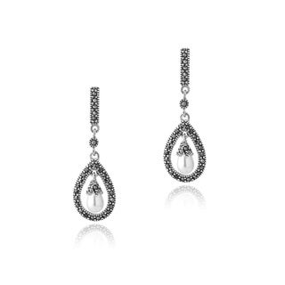 Glitzy Rocks Sterling Silver FW Pearl and Marcasite Earrings (5-6 mm)