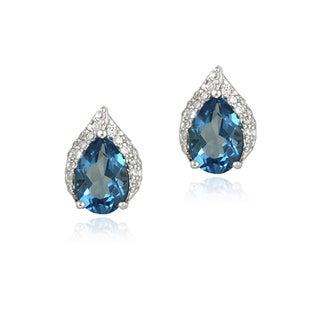 Glitzy Rocks Sterling Silver London Blue Topaz and CZ Teardrop Earrings