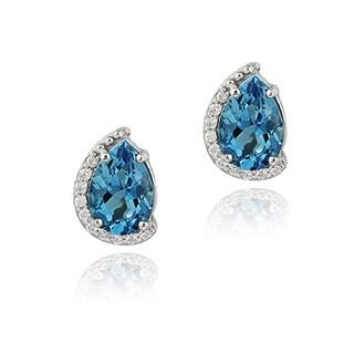 Glitzy Rocks Silver London Blue Topaz and CZ Teardrop Stud Earrings