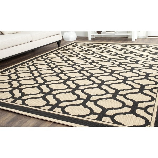 Martha Stewart By Safavieh Tangier Cream/ Black Indoor/ Outdoor Rug (8u0027x