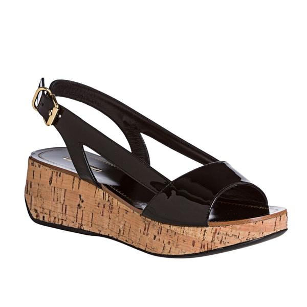Miu Miu Women's Black Patent Leather Cork Wedge Sandals