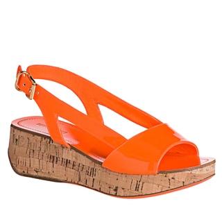 Miu Miu Women's Orange Patent Leather Cork Wedge Sandals
