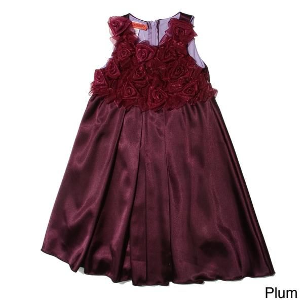 Funkyberry Girls Sleeveless Satin Rosette Dress