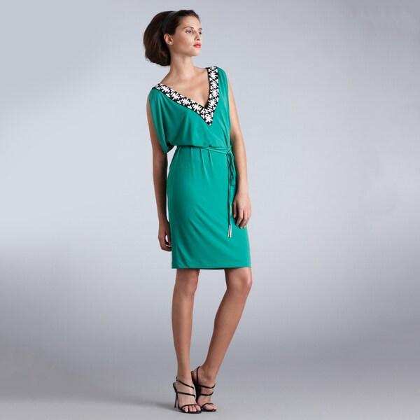 Muse Women's Embellished V-neck Tie Waist Dress