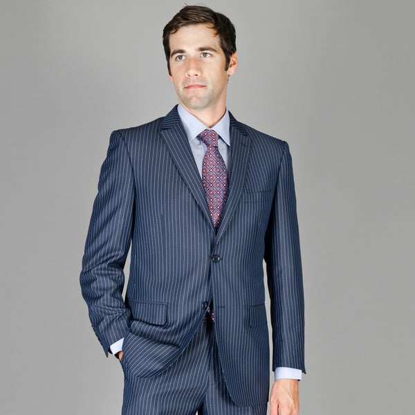 Bertolini Navy with Blue Stripe 2-button Wool and Silk Blend Suit