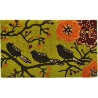 Birds in a Tree Green Coir/ Vinyl Doormat (1'5 x 2'5)