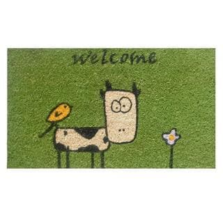 Cute Cow Green Coir/ Vinyl Doormat (1'5 x 2'5)