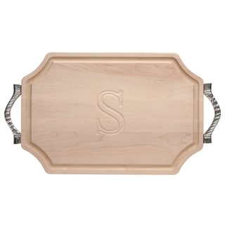 Monogrammed Maple 12x18 Cutting Board with Rope Handles