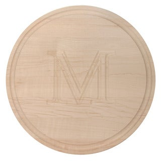 Carved Initial 10 1/2-inch Round Maple Cutting Board