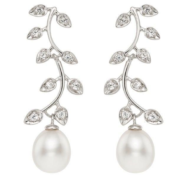 Pearlyta Sterling Silver 11 - 12 mm Freshwater Pearl and Cubic Zirconia Leaf Dangle Earrings