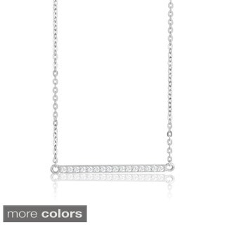 La Preciosa Sterling Silver Cubic Zirconia Bar Necklace