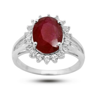 De Buman Sterling Silver Prong-set Ruby and White Topaz Ring