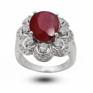 De Buman Sterling Silver Ruby and White Topaz Anniversary Ring