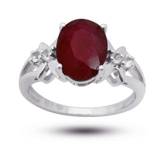 De Buman Sterling Silver Ruby and Round-cut White Topaz Ring