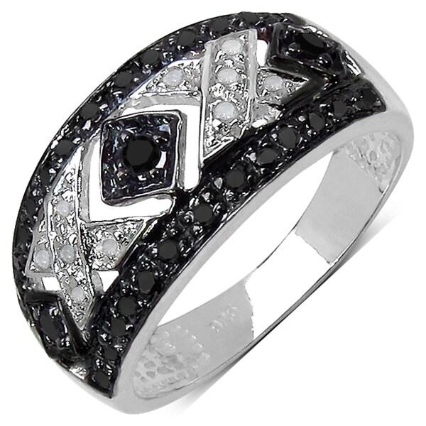Sterling Silver 1/4ct TDW Black and White Diamond Ring (I-J, I3)