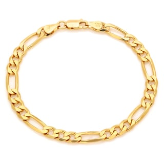 Sterling Essentials 14k Gold over Silver 6 mm Diamond-cut Figaro Bracelet (7 Inch)