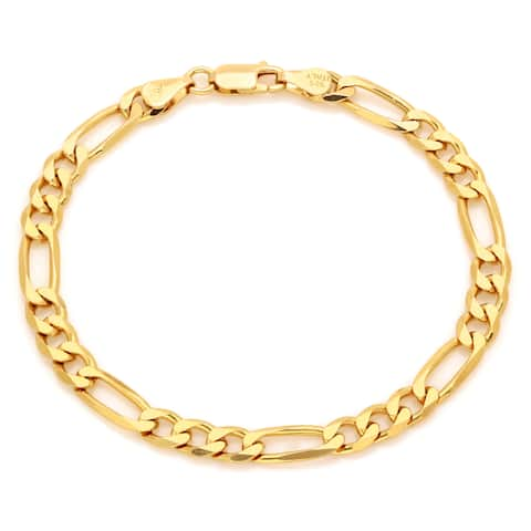 Roberto Martinez Yellow Gold Plated Silver 6 mm Diamond-cut Figaro Bracelet