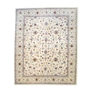 Herat Oriental Afghan Hand-knotted Vegetable Dye Ivory/ Beige Wool Area Rug (12' x 14'6)