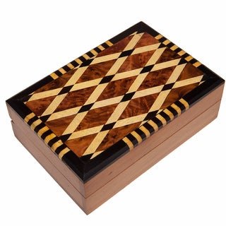 Handmade Inlaid Cross-Hatch Thuya Wood Box (Morocco)