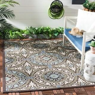 Safavieh Veranda Piled Indoor/ Outdoor Chocolate/ Aqua Area Rug (4' x 5'7)