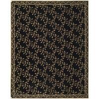 Safavieh Hand-hooked Wilton Black/ Green Wool Rug (5'6 x 8'6)