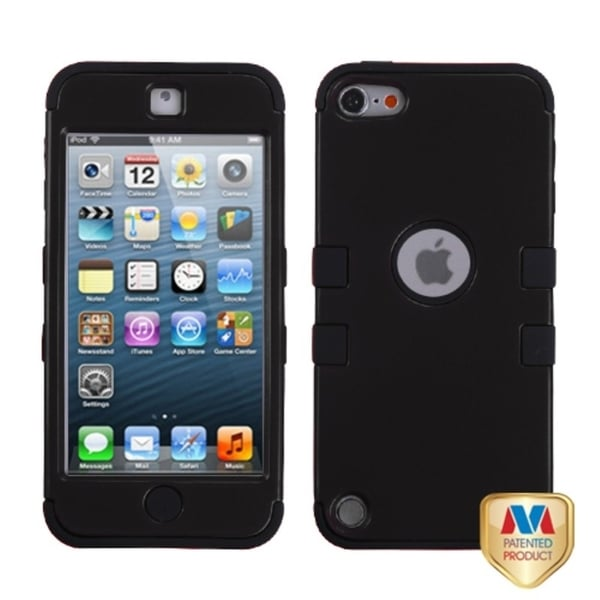 Insten Black Tuff Hard PC/ Silicone Dual Layer Hybrid Rubberized Matte Case Cover For Apple iPod Touch 5th/ 6th Gen