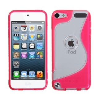 Insten Clear/ Hot Pink S Shape TPU Rubber Candy Skin Case Cover For Apple iPod Touch 5th/ 6th Gen