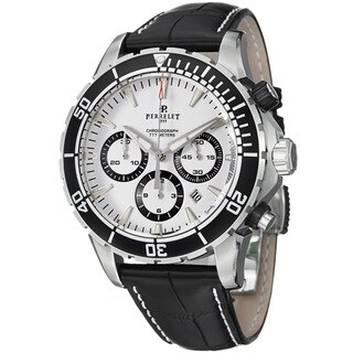 Perrelet Men's 'Seacraft' White Dial Leather Strap Automatic Watch